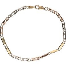 14 kt tricolour yellow, white and rose gold Figaro link bracelet - length x width: 17.5 x 0.3 cm