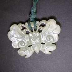 Antique Chinese carved white Jade butterfly with original ca. 19th silk mounts Qing. 11 gr.