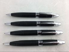 2 success sets, ball pen + pencil in black leather.