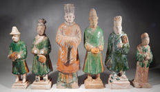 "Chinese Ming Dynasty Pottery Tomb Figures - 7"" to 10"" tall"