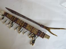 DAYAK BORNEO Mandau Ceremonial Head Hunters Sword & Dagger Scabbard Teeth