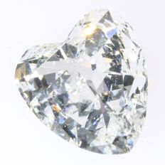 Certified heart cut diamond 1.75 ct, EW + (D) - SI1