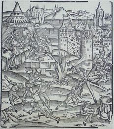 Gruninger Master; Virgil - Crespin Edition; Nisus and Euryalus battle, slaughtering many great captains, Troy,  - 1529