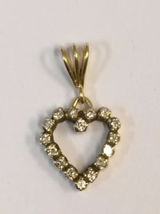 14 kt Gold Pendant with 0.32 ct diamonds - Length: 15.1 mm