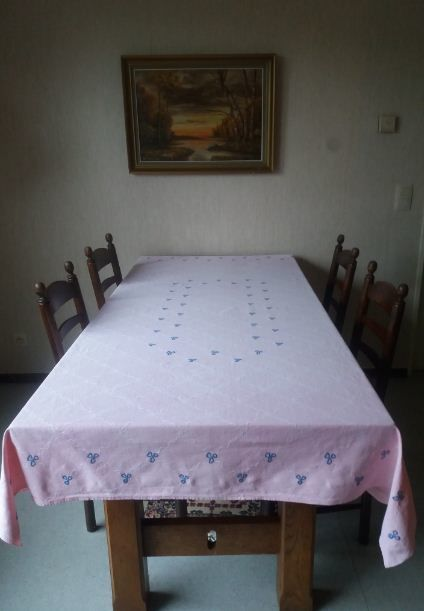 Beautiful hand embroidered tablecloth, Belgium.