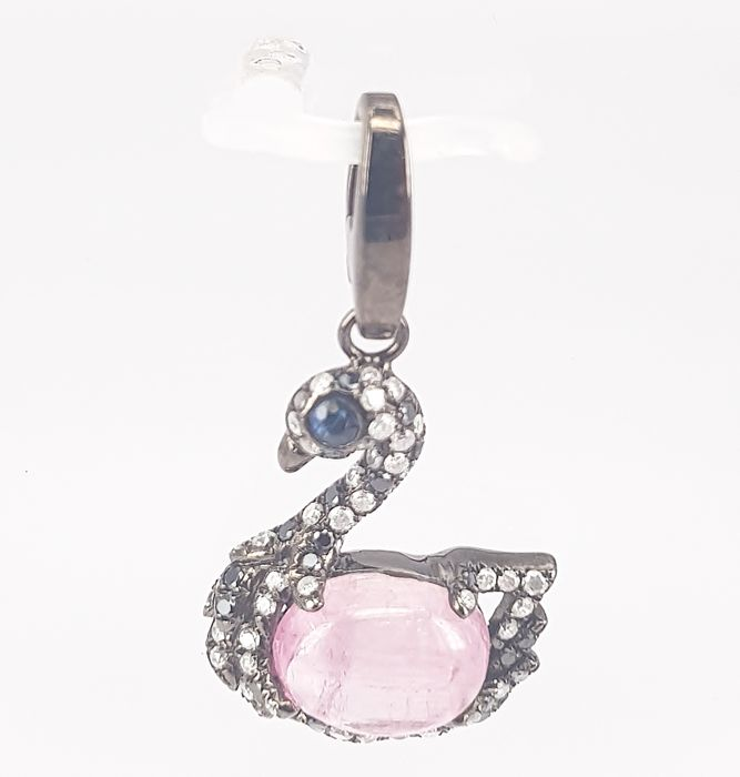 Swan Pendant in 2.30 carats Pink Tourmaline and 0.47 carats Round Diamonds in 18 kt Black Gold