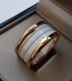 Bulgari BZero1 -White Ceramic and Gold ring - Size 63