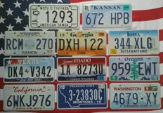 10 +1 USA license plates number plates registration plates
