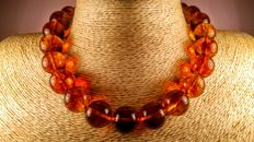 Cognac colour round modified Baltic Amber beads necklace,  62 grams