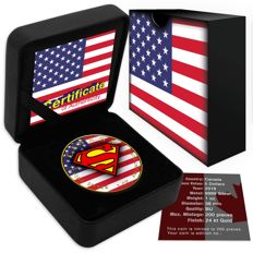 Canada - $5 - 1 oz 999 fine silver coin - Superman gilded + colour edition 2016 - Canadian/American flag - finished with 999 gold