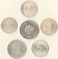 World - Lot with various coins 1935/1982 (6 different coins) - silver