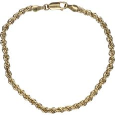 14 kt yellow gold twisted link necklace - length x width: 19.5 x 0.3 cm