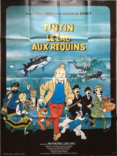 Tintin - Affiche officiel du film - grand format - Le lac aux Requins - (1972)