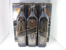 3 bottles - Johnnie Walker Black Label Art Deco - 1L