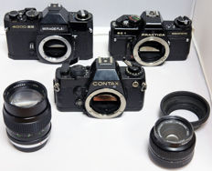 Lot of various cameras and lenses for the collector