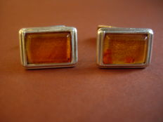 Silver (835) cufflinks with amber pieces