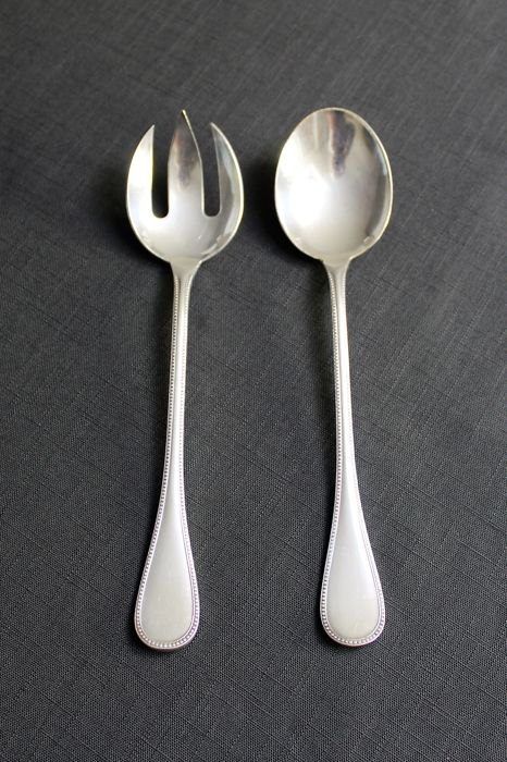 "Salad cutlery of the French luxury brand Christofle, model ""Perles"" - beginning of the 20th century"