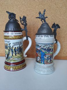 military regimental BIER STEIN (tankard) 2 pcs