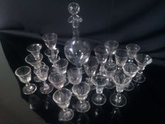 Decanter with stopper and  22glasses - the Netherlands - c. 1900
