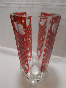 Red Bohemian crystal vase, Centrepiece for Christmas.