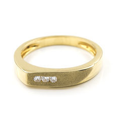 Yellow gold, 18 kt - Cocktail ring - Brilliant cut diamonds, 0.15 ct - Cocktail ring size: 15 (SP)