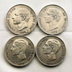 Spain - Alfonso XII - Lot 5 silver pesetas - 1975, 1878 EMM, 1878 DEM and 1885 - Madrid