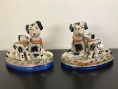 Antique set of mantelpiece dogs with black accents - hand-painted - England - circa 1930