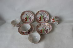 4 Famille rose / Mandarin porcelain cup and saucers - China - end 18th century