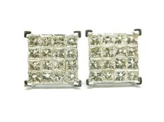 A 14k gold New Ladies Earrings with Princess cut Diamonds total 2.04 ct - No Reserve