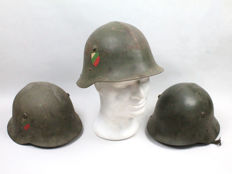 3 Bulgarian Helmets Model 1936C with Side Badge.