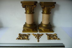 Neo-gothic ornaments set of two, capital and base, finial and French lily - 1897