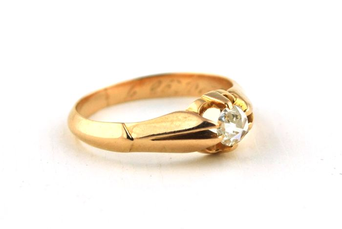Authentic Antique Single cut Diamond (+/-0.40CT) Solitaire Claw-setting & 18k  Yellow Gold 1890's Engagement Ring