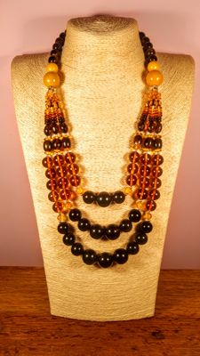 vintage 3 strings modified Baltic Amber necklace, 116 grams