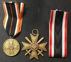 Third Reich WW II War Merit Cross with swords 2nd class 1939 and War Merit Medal 1939