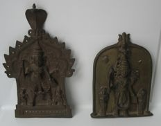 Two bas-relief sculptures/plates of Shiva Virabhadra - South India - mid 19th century (24 cm and 18 cm)
