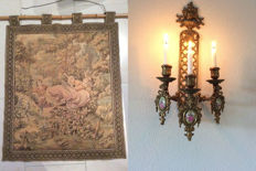 Beautiful three light wall candle holder and tapestry - tapestry / gobelin fabric with 18th century scenes - on bamboo carpet rod - Mid 20th century