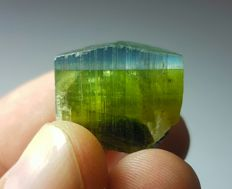 Beautiful bi colourful tourmaline crystal - 19.60 x 22 x 21mm - 13 gr