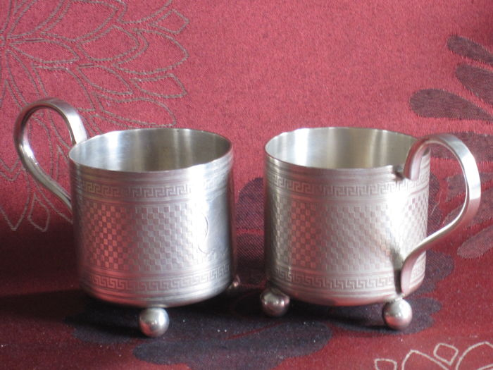 Norblin & Co, two antique silver plated tea glass holders - Warschau/Poland - 1870/1882
