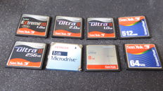 8 Sandisk (and other) Compact Flash cards