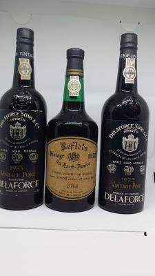 "Vintage Port: 1975 Delaforce & 1985 Delaforce & 1970 Pocas Junior ""Reflets du Haut Douro"" - 3 bottles in total"