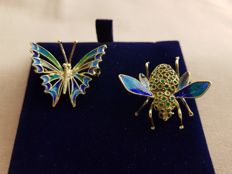 Two 800 silver brooches with enamel from 1970s NEVER WORN
