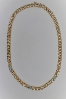 Necklace bicolour in yellow gold white gold 8 kt 333 with brilliants 0.25 ct p1 w - length 42 cm