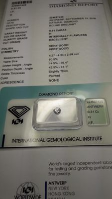 Natural Diamond 0.31 ct    H / IF  VG  VG  EX