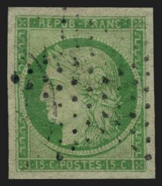 France 1849 - Ceres 15 c green, cancelled, star of Paris - Yvert no. 2