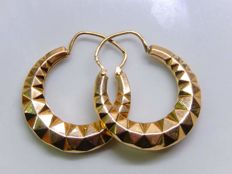 Criss-cross creole earrings in 18 kt yellow gold - NO RESERVE.