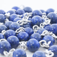 ROSARY of Lapis Lazuli beads and sterling silver.