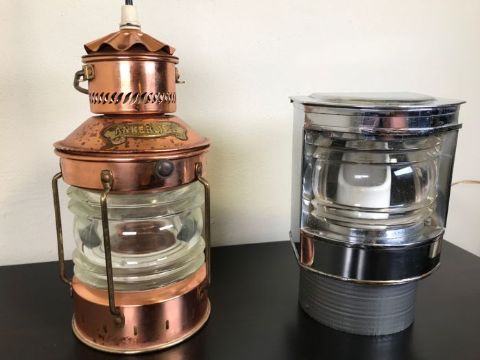 High quality copper-plated anchor light and stern light -circa 1950-1960