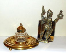 Elegant desk set - Inkwell and Knight Letter Stand  - Peerage of England - Edwardian style