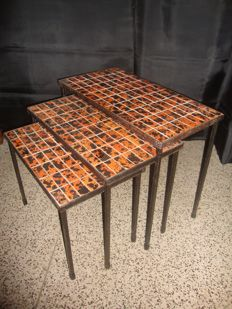 Unknown producer - Triple Table with Tile Top