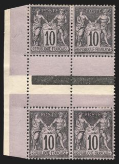 France 1880 - Sage 10c black on purple, type II holding type I, 2 vertical pairs - Yvert no. 89f